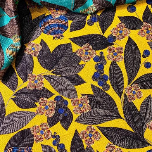 "Colors!!! Our beautiful design ""fruit du paradis"" printed on a stunning linen #yellow #colors #design #creativity #linen #highquality"
