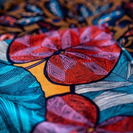 "See & feel the beautiful details of our design ""Idris"" printed on velvet #design #velvet #colors #luxury #thevenon"
