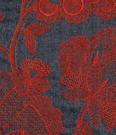 ENGLISH LOVERS brodé rouge fond gris